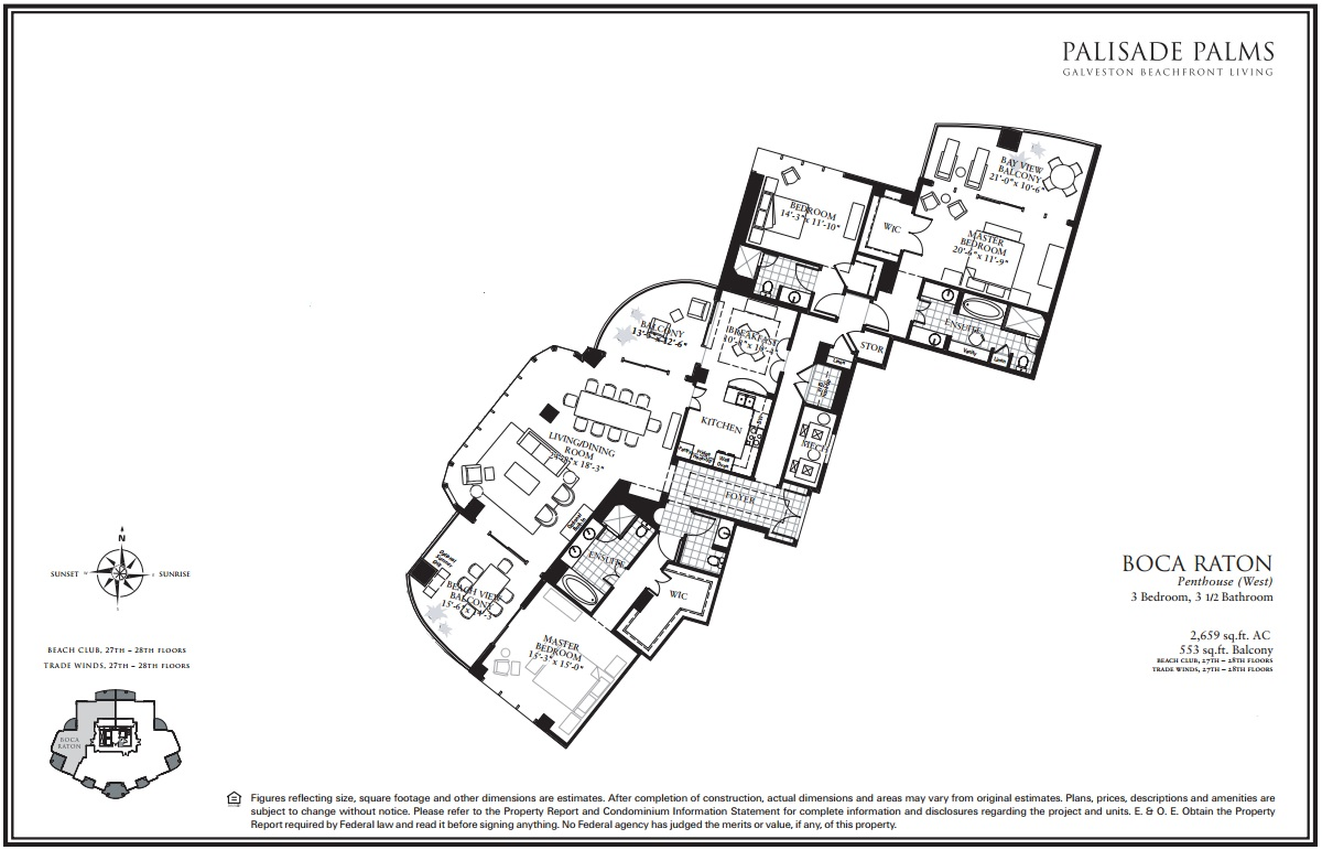 Floor Plan for Penthouse with pool table and panoramic views | BC2708