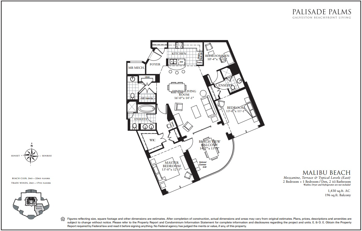 Floor Plan for East Beach and Sunrises| BC1204