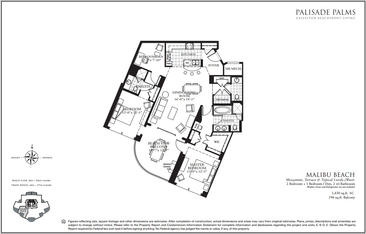 Floor Plan for Beach, Pool and City Lights Views | BC1408