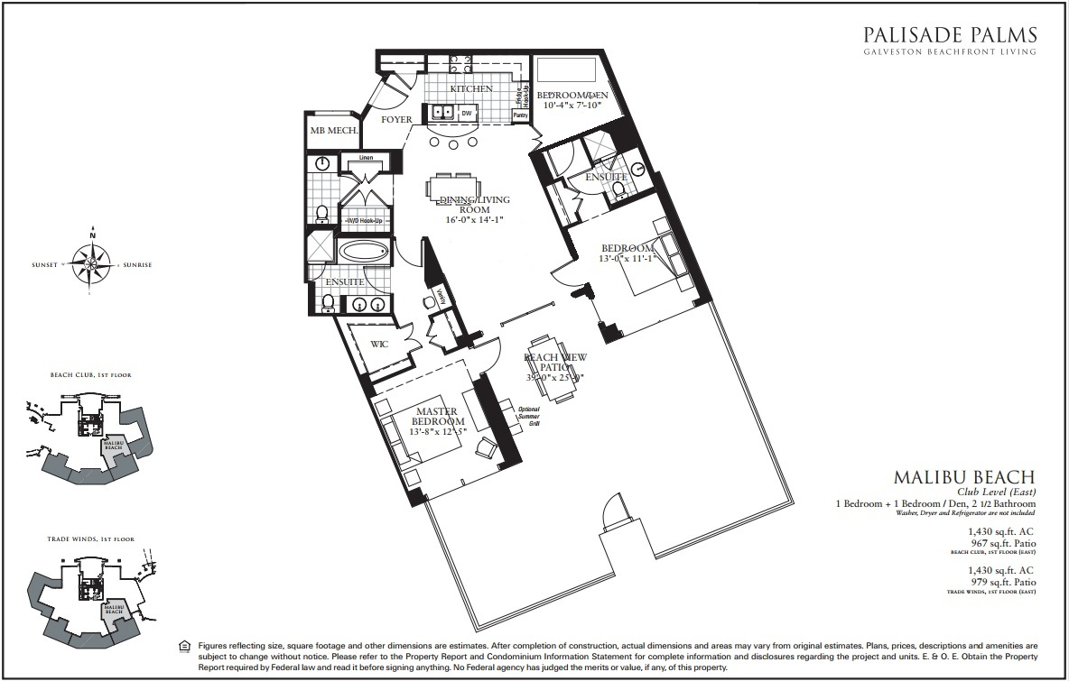 Floor Plan for Pool Level with 975 sq ft Patio! | TW0104