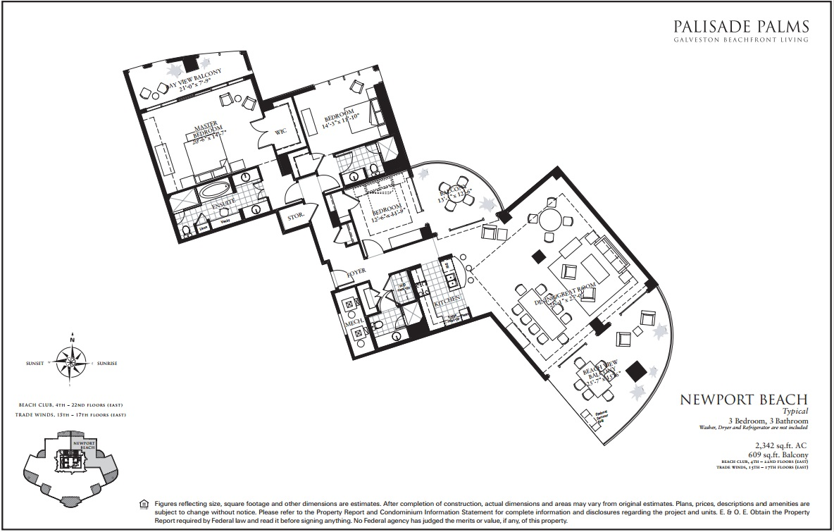 Floor Plan for 3 balconies, Large (25'x 26') living area, sunrise views! Saturday Check-ins Only | BC2200