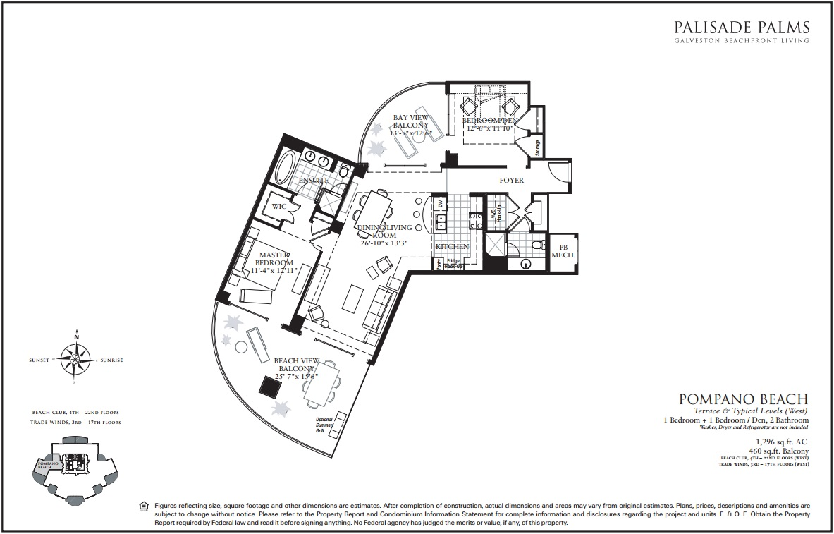 Floor Plan for 2 Balconies, Amazing Sunset views of Beach and Bay | TW1010