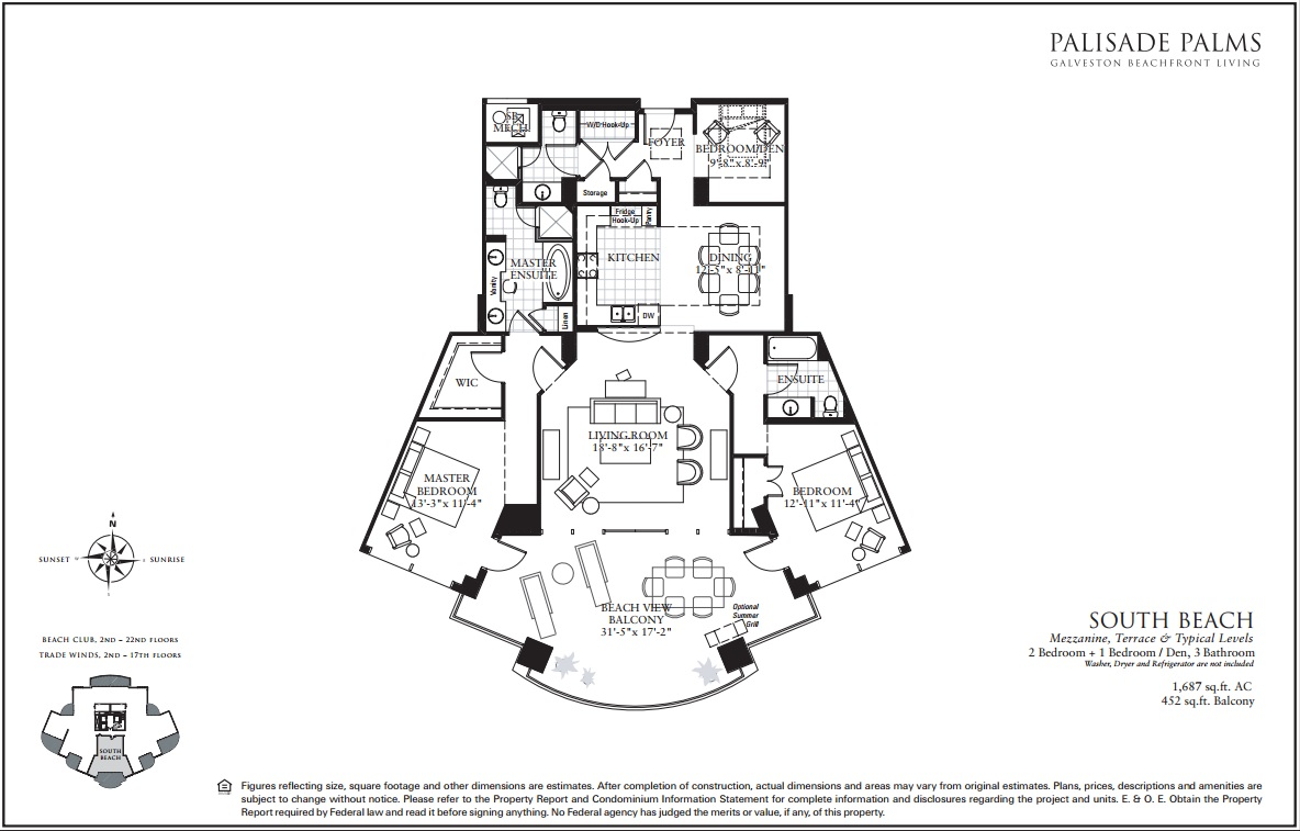 Floor Plan for Largest of Balconies with endless ocean views East, South and West. | BC0606